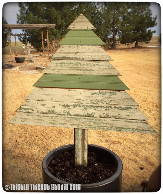 Thistle Thicket Studio, rustic Christmas tree, wooden Christmas tree, bead board, slat tree