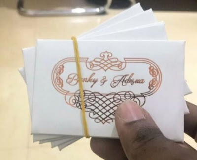 access card to Banky W and Adesua's wedding tomorrow looks like