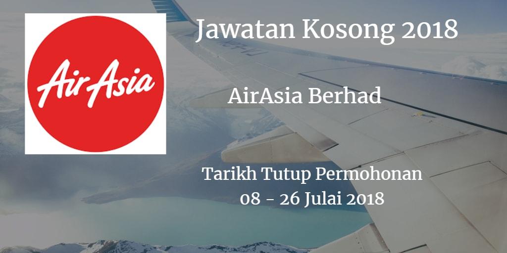 Jawatan Kosong AirAsia Berhad 08 - 26 Julai 2018