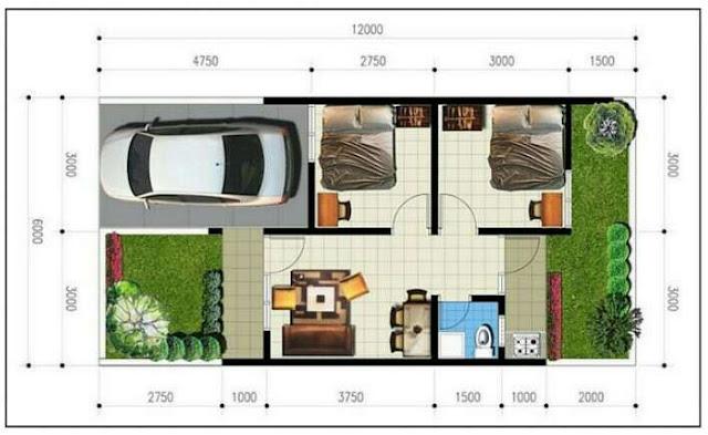 Ide desain sederhana denah rumah minimalis 1 lantai dengan 3 kamar