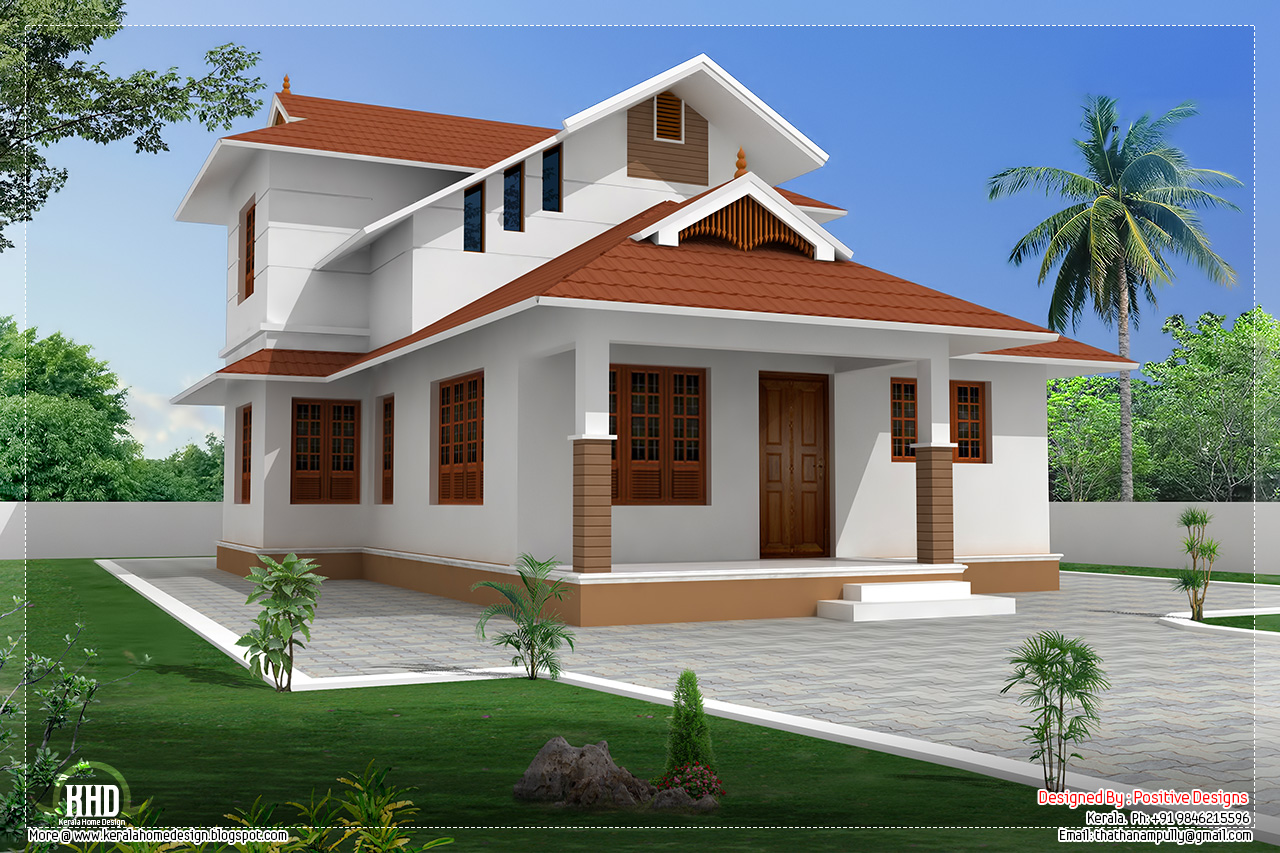 1364 sloping roof villa design kerala home for House roof designs in kerala
