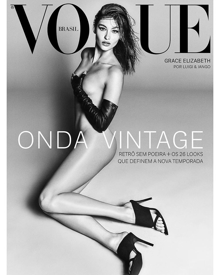 Grace Elizabeth goes nude for Vogue Brazil August 2018