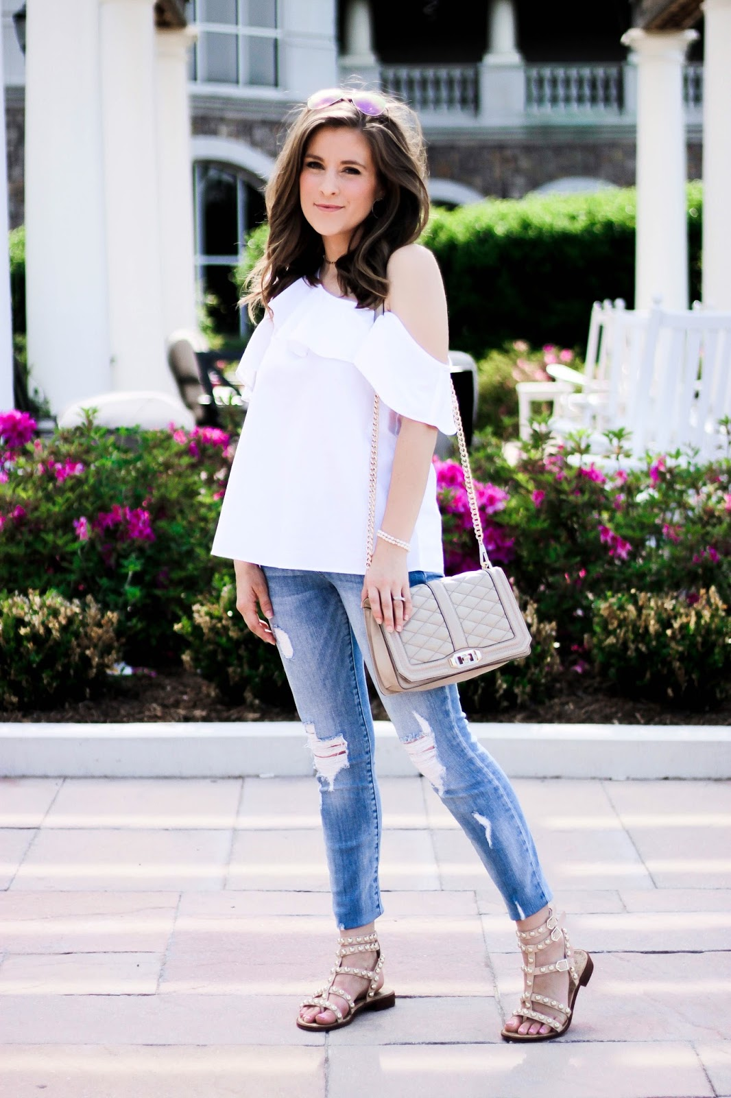 c04a6a49263 madewell one shoulder top (c/o) || similar jeans || paved circle earrings  || similar stud sandals || bag {last year, try this one!}