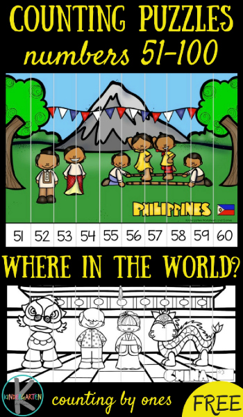 FREE Around the World Count to 100 Puzzles - this is such a fun kindergarten math activity for math centers, extra practice, homeschool to not only learn to count to 100, but also to learn abou The Philippines, Switzerland, Vietnam, New Zealand, china, and more! #counting #aroundtheworld #mathpuzzles #mathgame #kindergarten #kindergartenmath #kindergartenworksheetsandgames