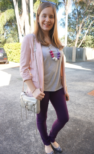 grey tee with blush pink boyfriend blazer purple skinny jeans silver accessories | AwayFromBlue