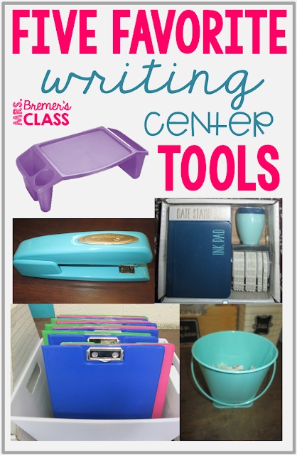 Writing center components including a thematic word wall, writing center stationery, labelling pages, writing prompts, sticker stories, writing lists, writing letters, write the room activities, and more. #writingcenter #writingcenters #2ndgrade #1stgrade
