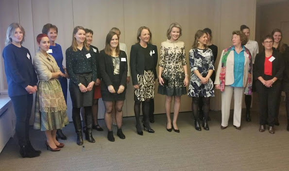 Queen Mathilde of Belgium attended a working meeting chaired by the Queen on the learning process, at start-ups at the VBO-FEB (Federation of enterprises in Belgium