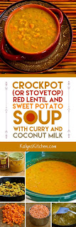 Crockpot (or Stovetop) Red Lentil and Sweet Potato Soup with Curry and Coconut Milk found on KalynsKitchen.com