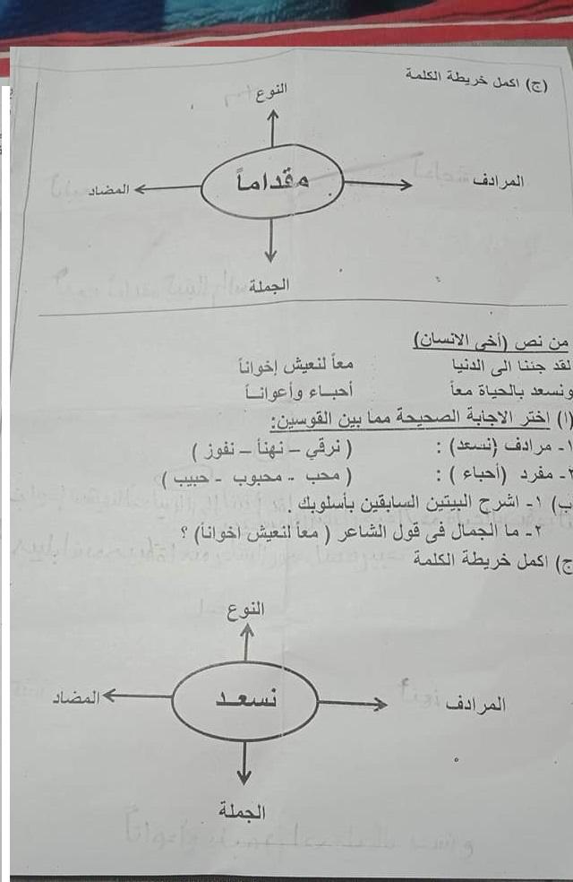 امتحان اللغة العربية للصف السادس الابتدائي ترم أول 2019 ادارة حدائق القبة التعليمية