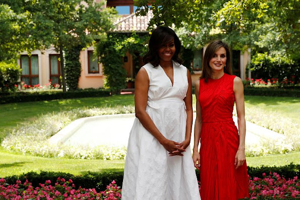 Queen Letizia of Spain and US First Lady Michelle Obama at the garden of Zarzuela Palace