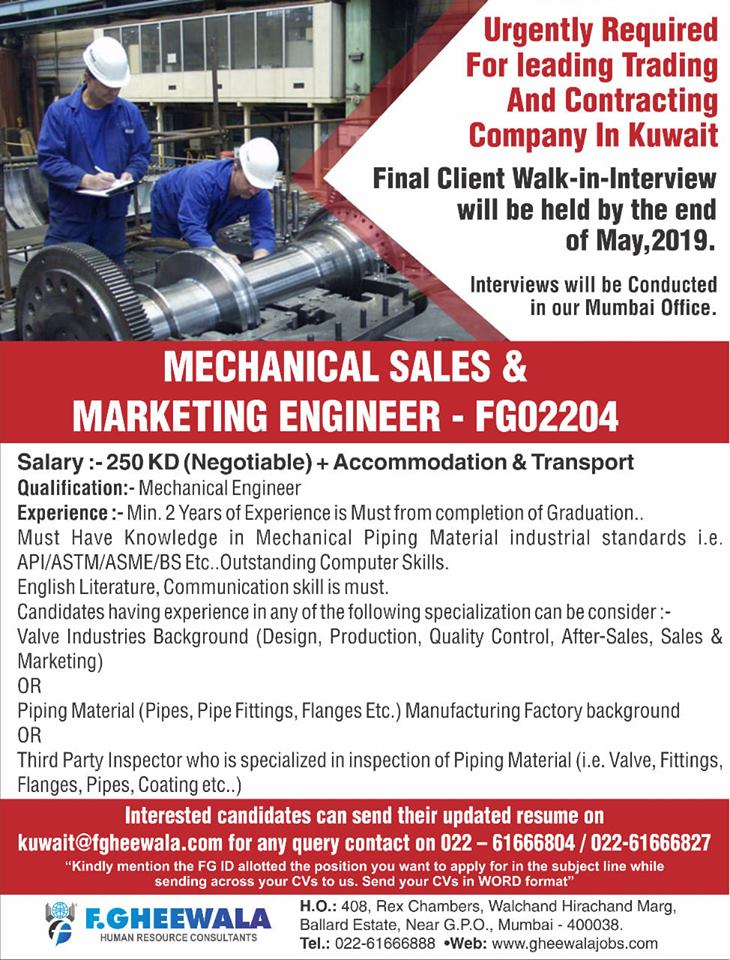Mechanical Sales & Marketing engineer