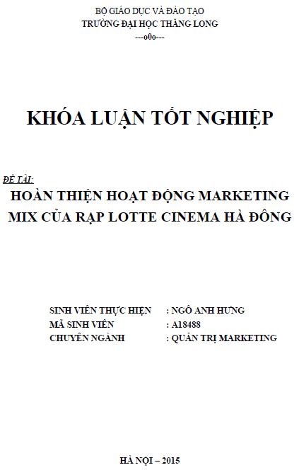 Hoàn thiện hoạt động marketing mix của rạp Lotte Cinema Hà Đông