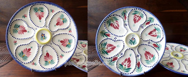 French Antique Quimper Pottery. Henriot Majolica Fleuri Royal Oyster Plates.Glazed Art Pottery, oyster gift idea for Holiday seafood plates. Stamped and Signed underside