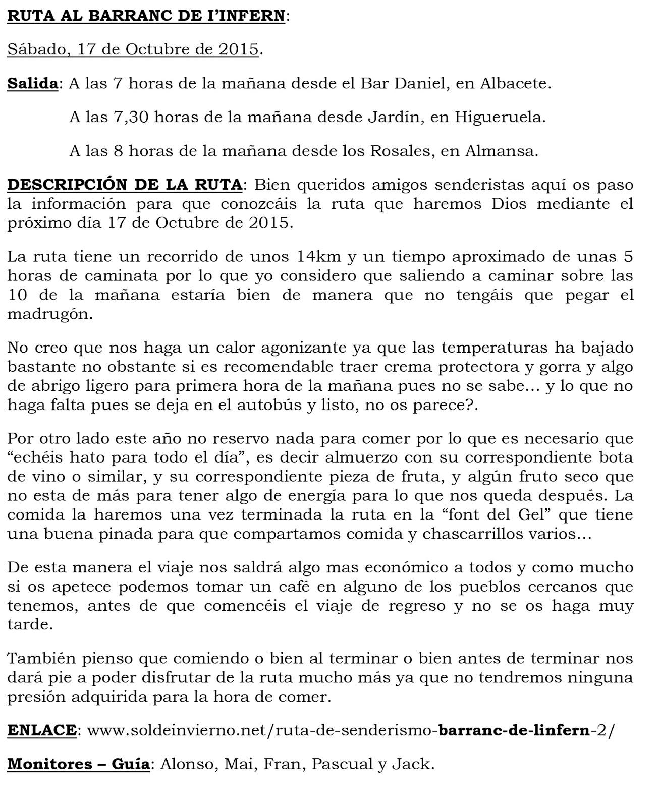 Club Deportivo de senderismo Sendas del Mojinete: RUTA AL
