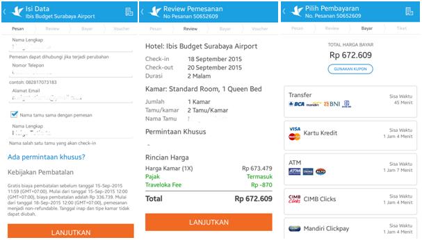 Gambar: Tampilan formulir pemesanan, rincian pemesanan, dan halaman pembayaran di aplikasi Traveloka.