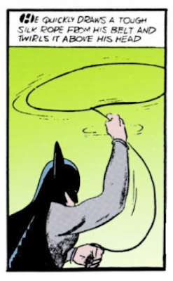 Detective Comics (1937) #28 Page 2 Panel 8: Batman's utility belt saves the day.