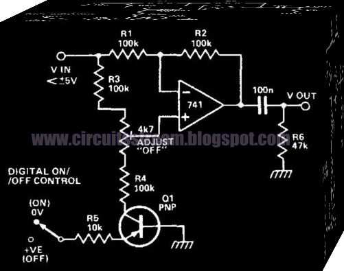 Electronic Transistor Turns Op Amp On or Off Circuit Diagram