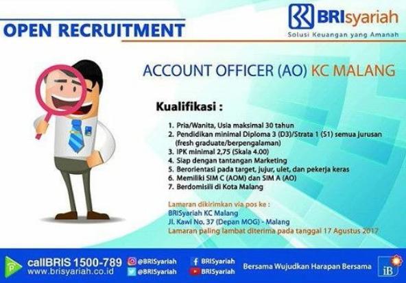 Lowongan Kerja Account Officer PT. Bank BRISyariah