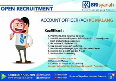 Lowongan Kerja Di Bank BRISyariah Kota Malang Sebagai Account Officer Terbaru 2017 - 2018