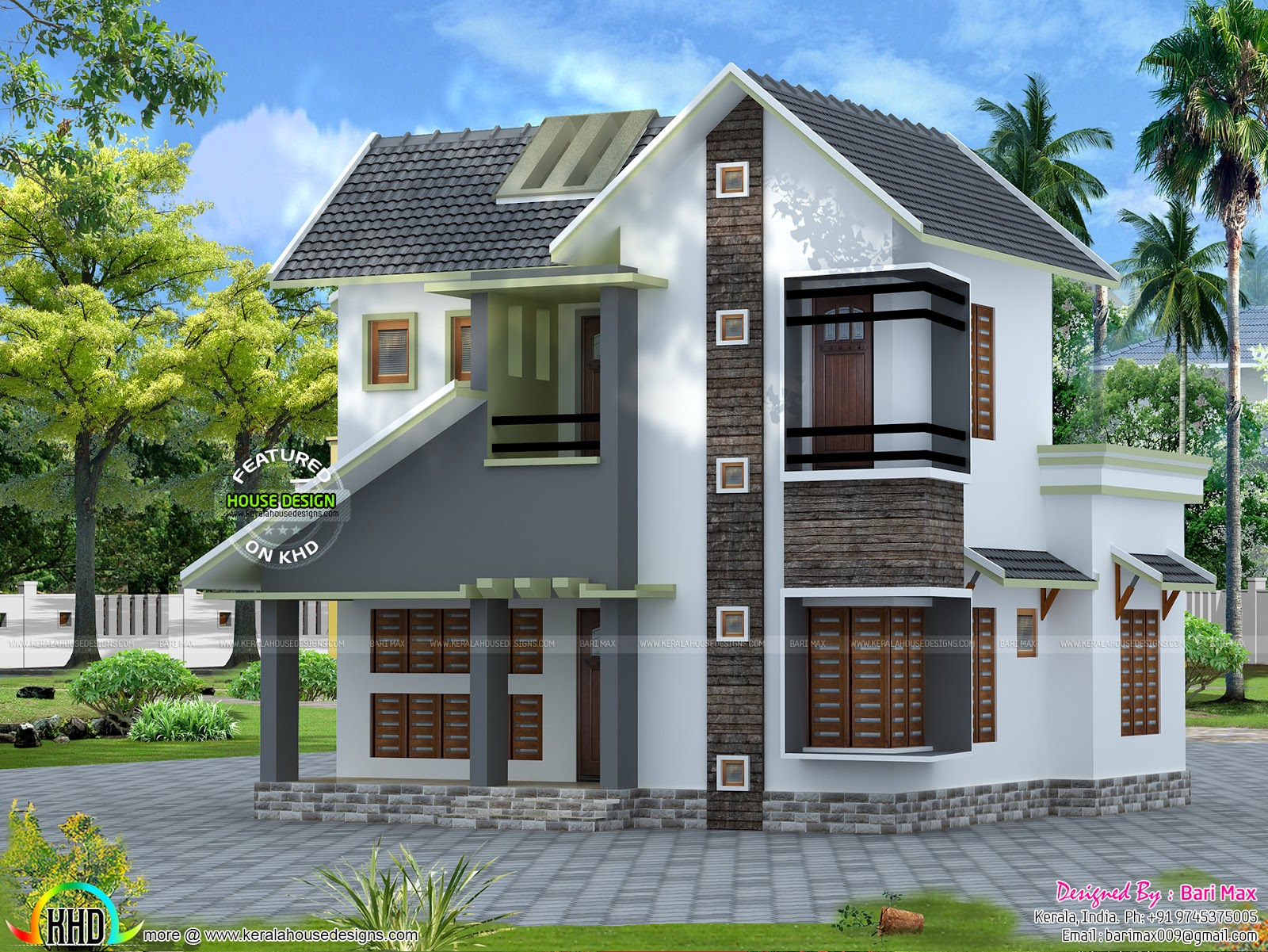Slope roof low cost home design kerala home design and for Free house plans and designs with cost to build