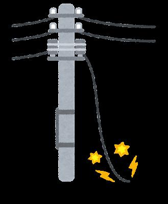 地震で断線した電線のイラスト