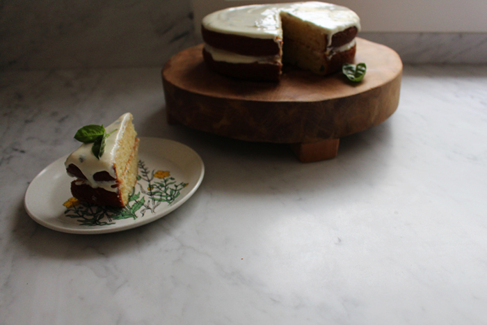 Lemon Cake with Basil & Greek Yoghurt Icing