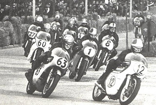 Photo of Giacomo Agostini in race action in 1969.