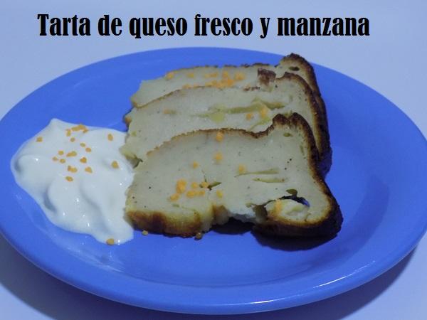 Tarta de queso fresco y manzana