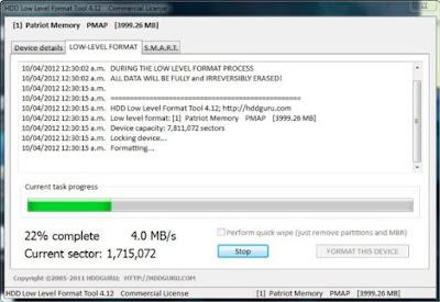 Cara Memperbaiki Flashdisk Yang Tidak Bisa Diformat Dengan HDDGURU Low Level Format