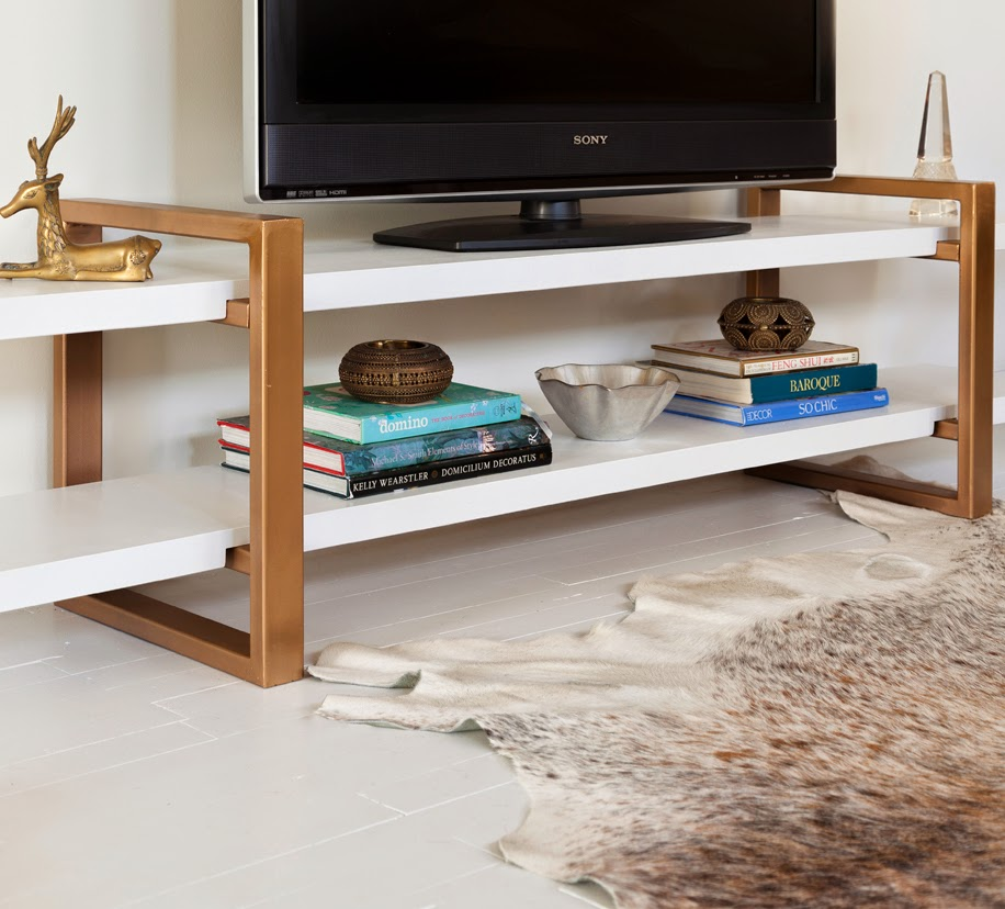 Modern White And Antiqued Gold Television Stand