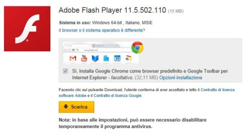 la versione piu recente di adobe flash player