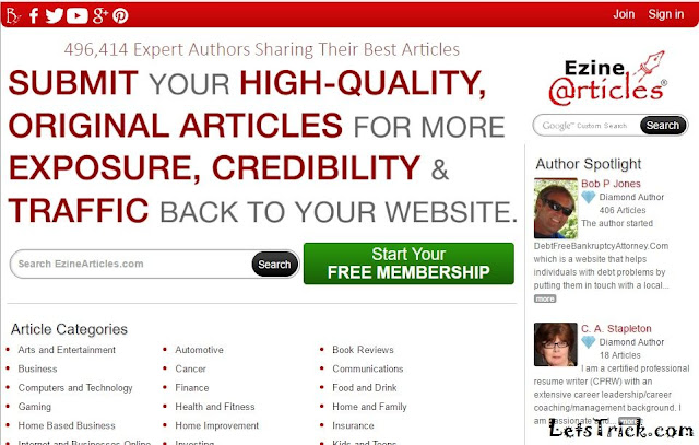 Article Submission Sites High Page Rank