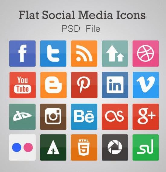 Free Flat Social Media Icons (PSD)