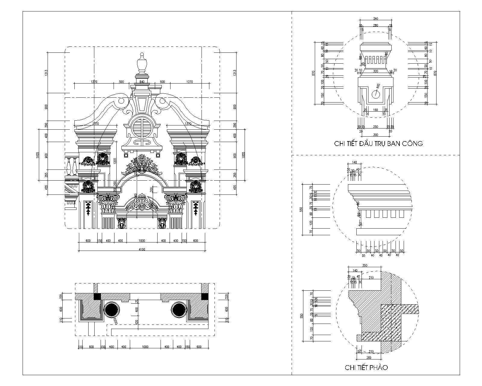 Chi tiết trang trí phần đỉnh tường- hình 2