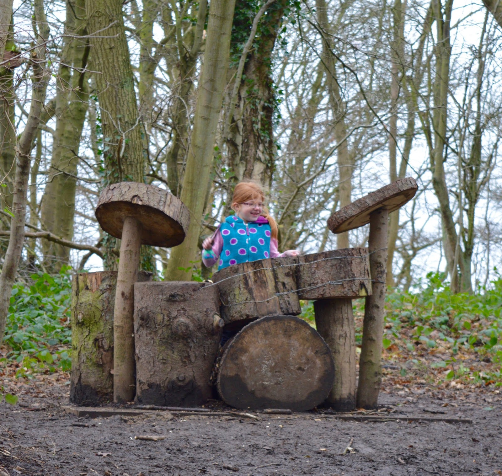 Our Visit to Plessey Woods - A FREE day out in Northumberland. It was very muddy and the perfect chance for Harry to put his GORE-TEX shoes through their paces - woodland tree drum kit