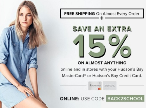 Hudson's Bay Back To School Extra 15% Off + Free Shipping Promo Code