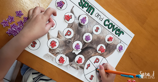 Spin and Cover Print and Go games to help review the alphabet