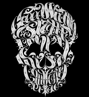 Imagen de calavera formada por tipografía de fantasía