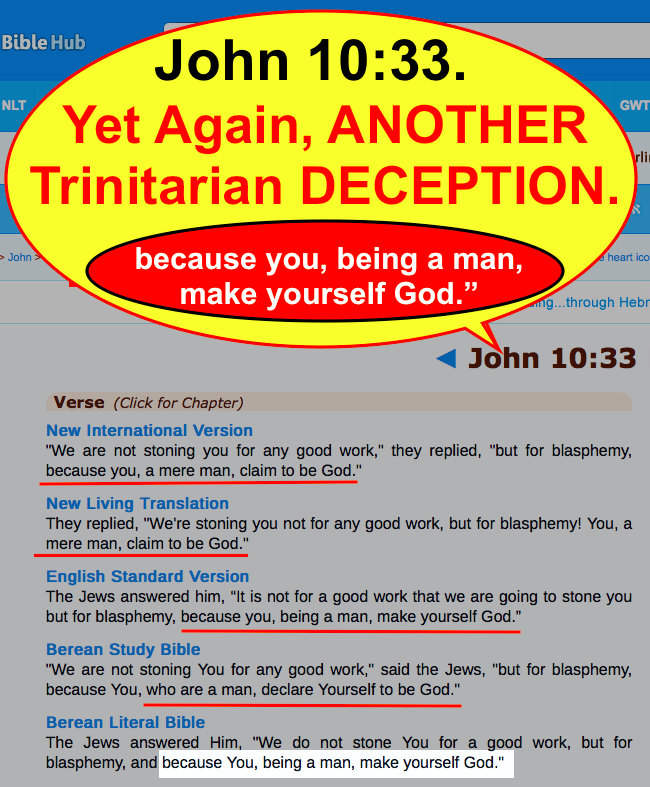 John 10:33. Yet Again, ANOTHER Trinitarian DECEPTION.