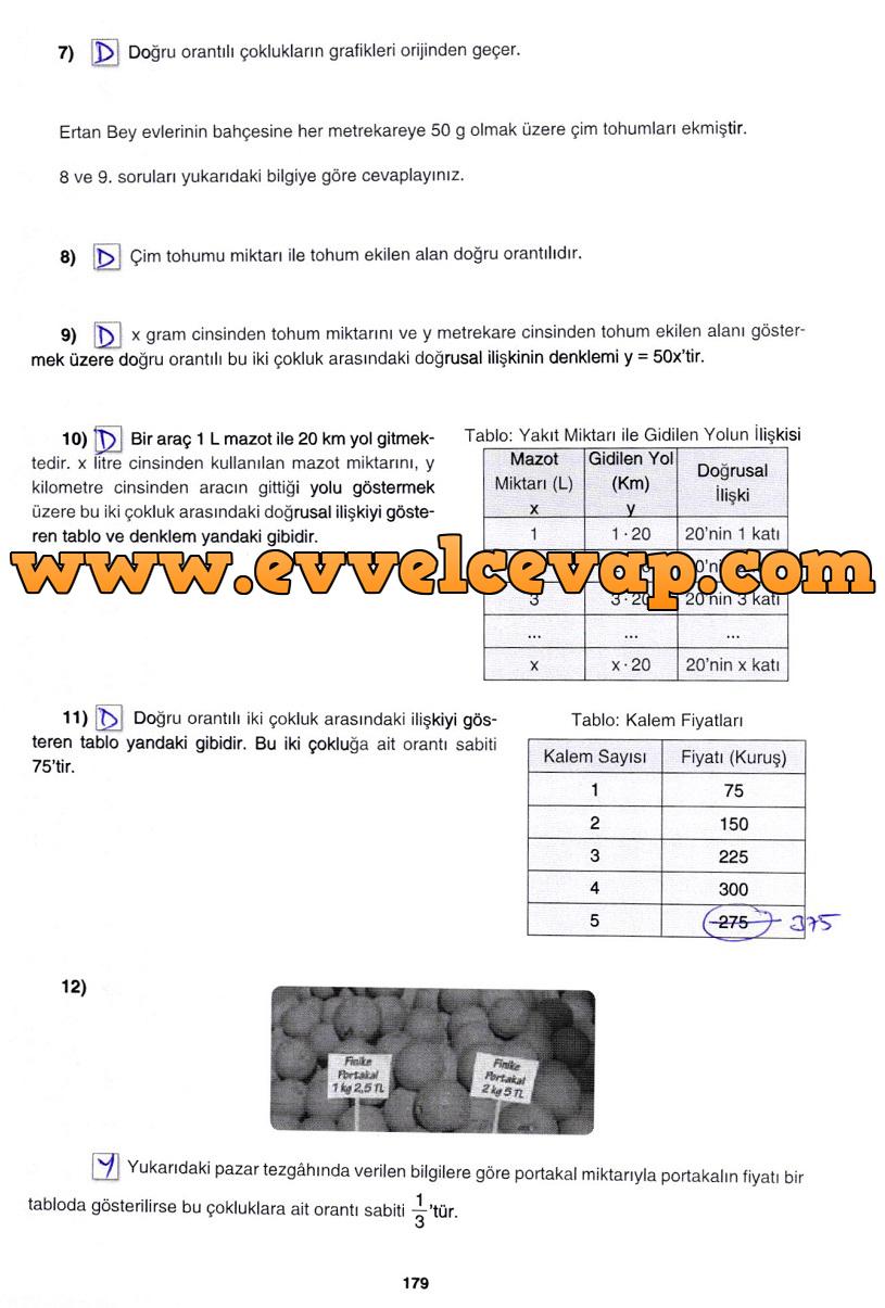 7. Sınıf Gizem Yayınları Matematik Ders Kitabı 179. Sayfa Cevapları 3. Ünite Değerlendirme Çalışmaları