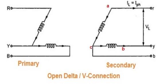open delta or v connection of transformer etrical advantages of open delta connection at Open Delta Transformer Connection Diagram