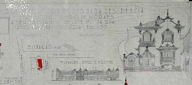 id 260 - Projeto de um prédio para residência à rua Vasco Coutinho, Parque Moscoso, Vitória; ES, proprietário Cícero de Moraes, dezembro de 1945.