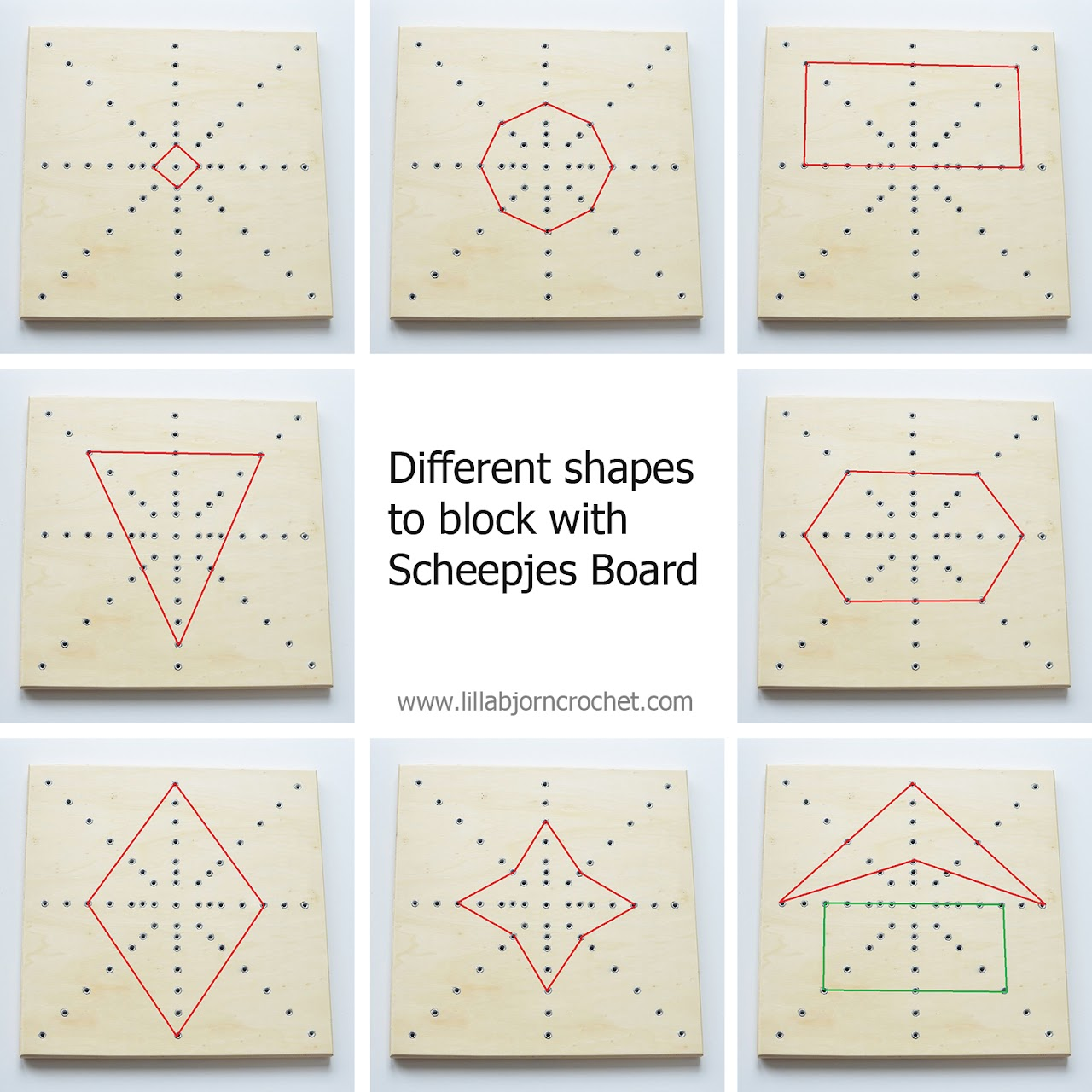 Different shapes to block with Scheepjes board