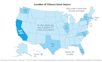 Location of Chinese Buyers ( from New York Times map ) 2015
