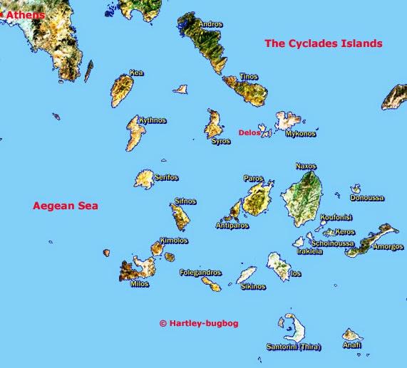 Кикладский архипелаг, карта на английском языке