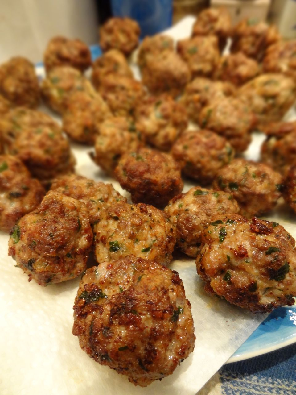 Golden brown and cooked through, the turkey meatballs smell heavenly