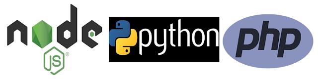 node js,python,php
