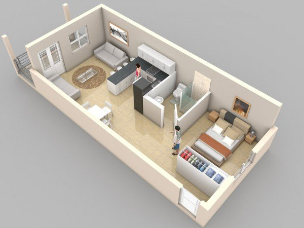 1 bedroom apartment design with living room