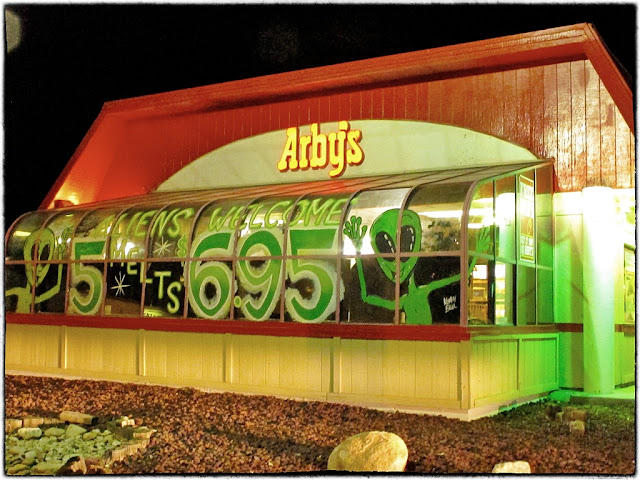 UFO discounts at Arby's restaurant, Roswell, USA