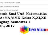 Contoh Soal UAS Matematika SMA/MA/SMK Kelas X,XI,XII Lengkap Semester 1 2018/2019